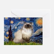 Starry Night Himalayan cat Greeting Card