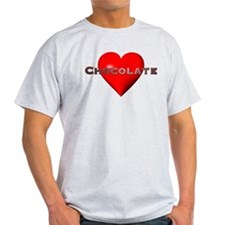 Chocolate Red Heart Light Colored T-Shirt