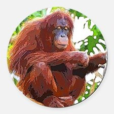 Painted Orang Round Car Magnet