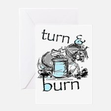 Turn and Burn Barrel Racin Greeting Cards
