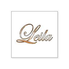 "Gold Leila Square Sticker 3"" x 3"""