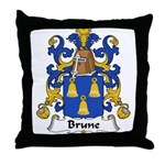 Brune Family Crest Throw Pillow