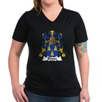 Brune Family Crest Women's V-Neck Dark T-Shirt