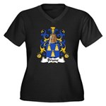 Brune Family Crest Women's Plus Size V-Neck Dark T