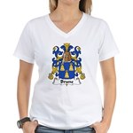 Brune Family Crest Women's V-Neck T-Shirt