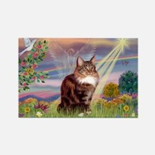 Cloud Angel & Maine Coon Rectangle Magnet