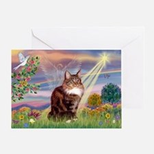 Cloud Angel & Maine Coon Greeting Card