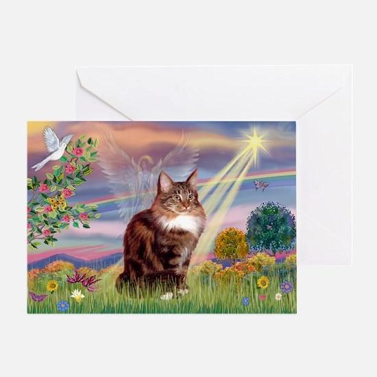 Cloud Angel & Maine Coon Greeting Card