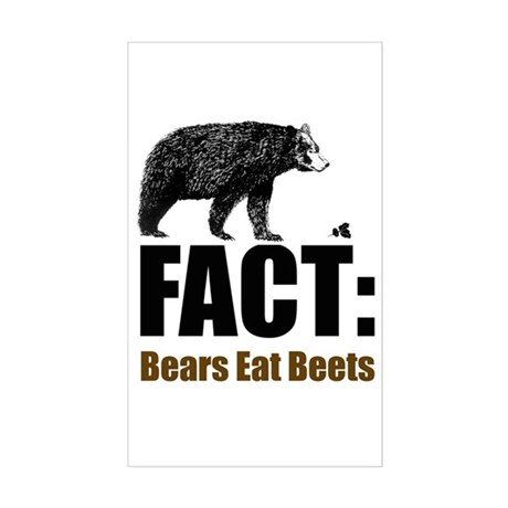 Fact: Bears eat beets Rectangle Sticker
