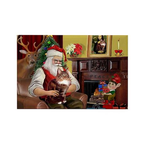 Santa's Maine Coon Rectangle Magnet