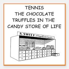 "tennis joke Square Car Magnet 3"" x 3"""