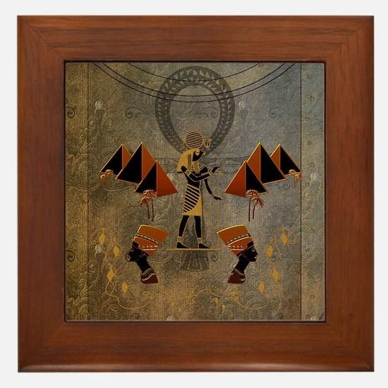 Anubis the egyptian god, pyramid Framed Tile