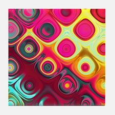 Megafunky Rainbow patterns Tile Coaster