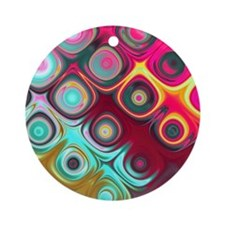Megafunky Rainbow patterns Ornament (Round)