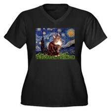 Starry Maine Coon Women's Plus Size V-Neck Dark T-