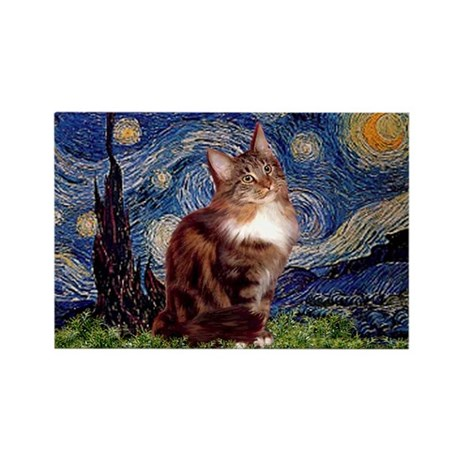 Starry Maine Coon Rectangle Magnet