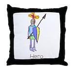 Kid Art Hero Knight Throw Pillow