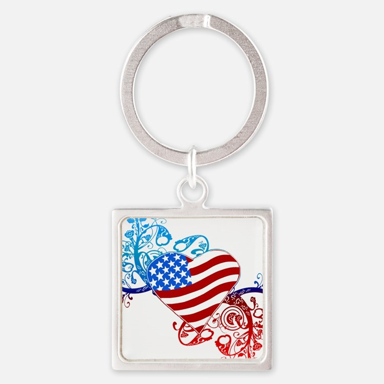 4th of July Fourth American Flag Square Keychain