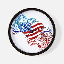 4th of July Fourth American Flag Wall Clock