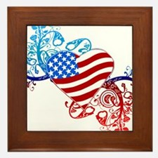 4th of July Fourth American Flag Framed Tile