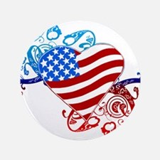 4th of July Fourth American Flag Button