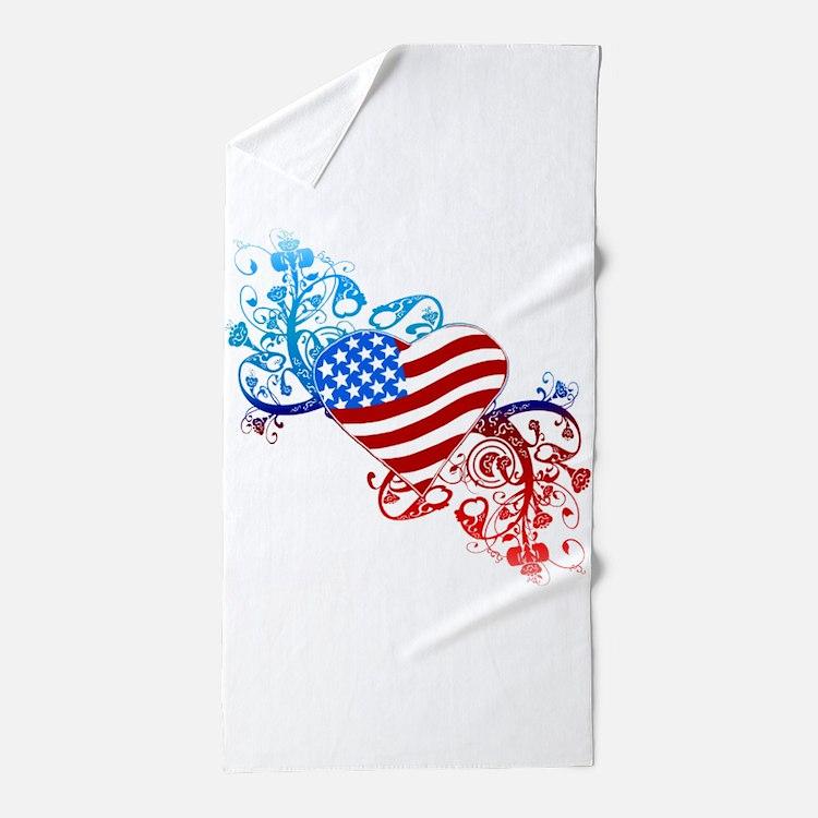 4th of July Fourth American Flag Beach Towel