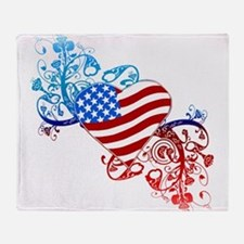 4th of July Fourth American Flag Throw Blanket