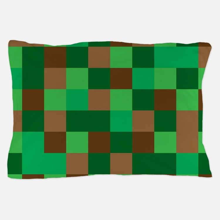 Green Pixelated Design Pillow Case