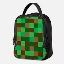 Green Pixelated Design Neoprene Lunch Bag