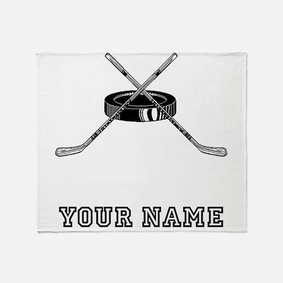 Hockey Sticks And Puck (Custom) Throw Blanket