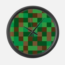 Green Pixelated Design Large Wall Clock