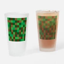 Green Pixelated Design Drinking Glass