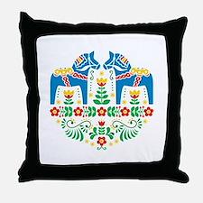 Swedish Dala Horse Throw Pillow