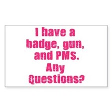 Policewoman PMS Rectangle Stickers