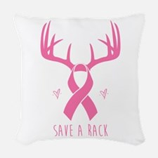 Save a Rack (Pink) Woven Throw Pillow