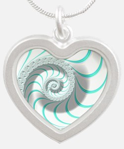 Beautiful Pastel Abstract Fr Silver Heart Necklace