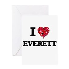 I Love Everett Greeting Cards