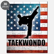 Taekwondo fighter USA American Flag Puzzle