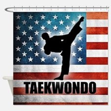 Taekwondo fighter USA American Flag Shower Curtain