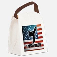 Taekwondo fighter USA American Fl Canvas Lunch Bag