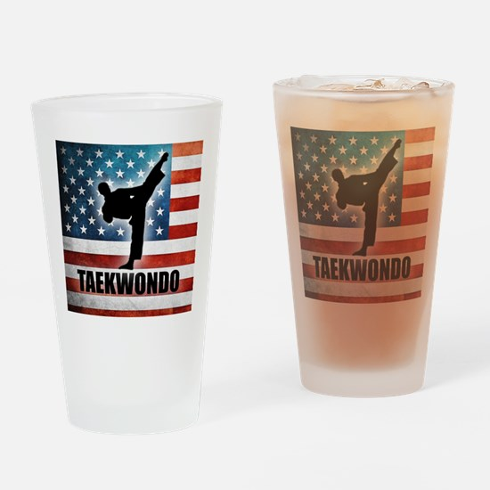 Taekwondo fighter USA American Flag Drinking Glass