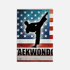 Taekwondo fighter USA American Fl Rectangle Magnet