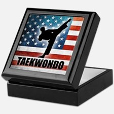 Taekwondo fighter USA American Flag Keepsake Box