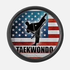 Taekwondo fighter USA American Fl Large Wall Clock