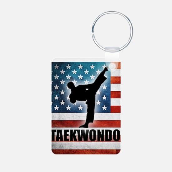 Taekwondo fighter USA Amer Keychains