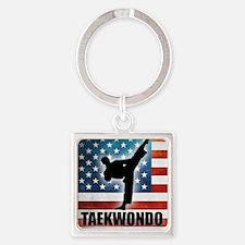 Taekwondo fighter USA American Fla Square Keychain