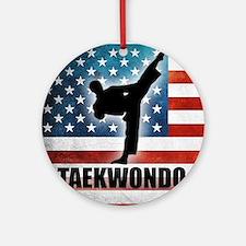 Taekwondo fighter USA American Flag Round Ornament