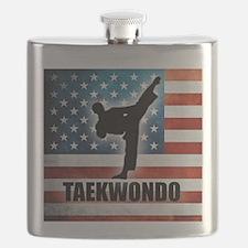 Taekwondo fighter USA American Flag Flask