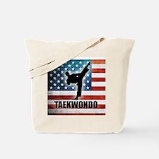 Taekwondo fighter USA American Flag Tote Bag