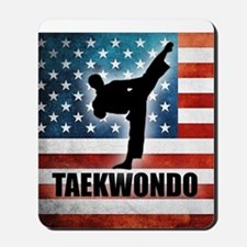 Taekwondo fighter USA American Flag Mousepad
